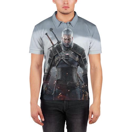Мужская рубашка поло 3D  Фото 03, Ведьмак Геральт