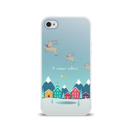 Чехол для Apple iPhone 4/4S силиконовый глянцевый  Фото 01, Новогодний городок