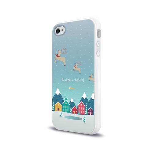 Чехол для Apple iPhone 4/4S силиконовый глянцевый  Фото 03, Новогодний городок