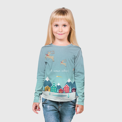 Детский лонгслив 3D  Фото 03, Новогодний городок