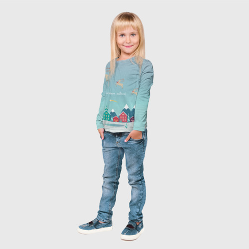Детский лонгслив 3D  Фото 04, Новогодний городок