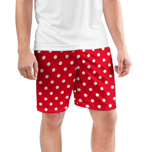 Мужские шорты 3D спортивные  Фото 03, Горошек белый