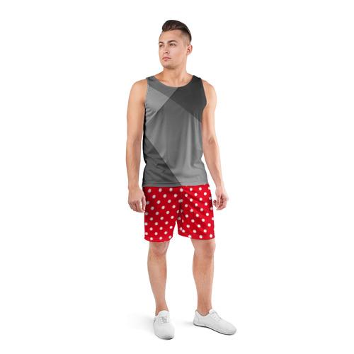 Мужские шорты 3D спортивные  Фото 04, Горошек белый
