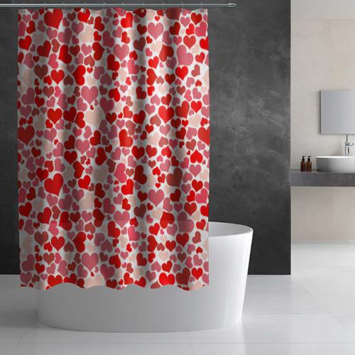 Штора 3D для ванной Сердца, любовь, орнамент, праз Фото 01