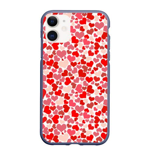 Чехол для iPhone 11 матовый Сердца, любовь, орнамент, праз Фото 01