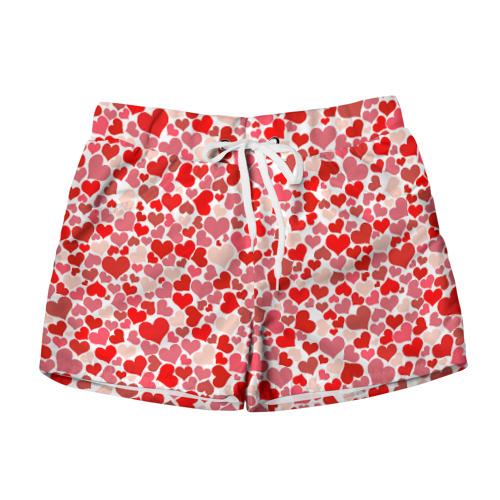 Женские шорты 3D Сердца, любовь, орнамент, праз