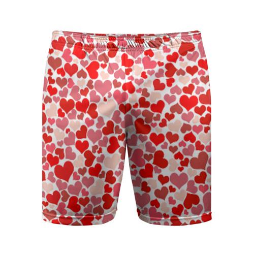 Мужские шорты 3D спортивные Сердца, любовь, орнамент, праз