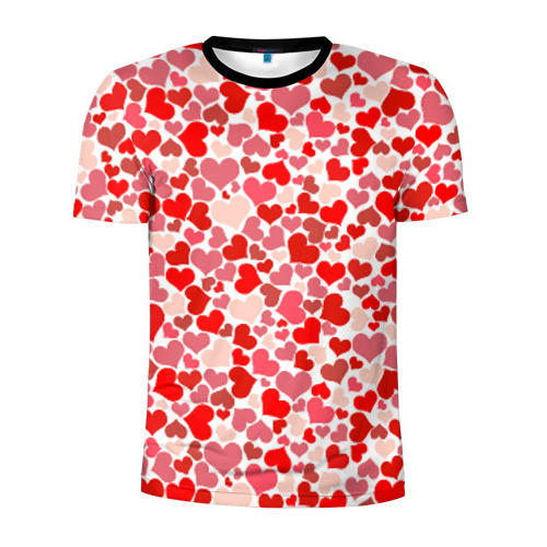 Мужская футболка 3D спортивная Сердца, любовь, орнамент, праз