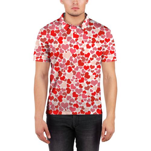 Мужская рубашка поло 3D  Фото 03, Сердца, любовь, орнамент, праз
