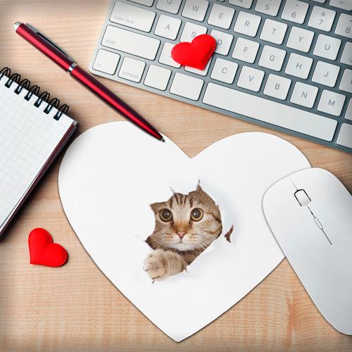 Коврик для мыши сердце  Фото 02, Котик