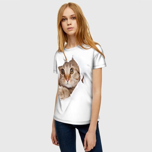 Женская футболка 3D Котик Фото 01