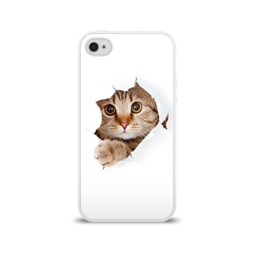 Чехол для Apple iPhone 4/4S силиконовый глянцевый  Фото 01, Котик
