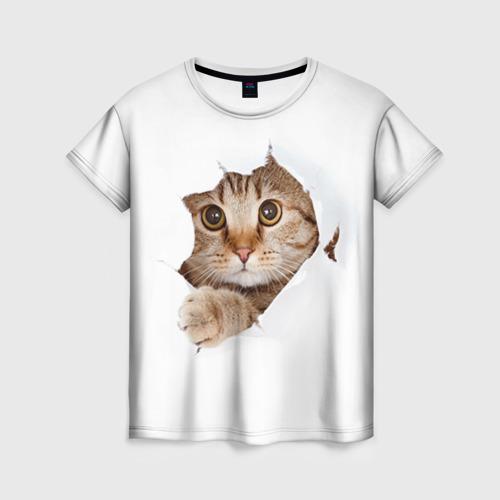 Женская футболка 3D Котик