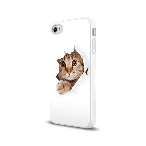 Чехол для Apple iPhone 4/4S силиконовый глянцевый  Фото 03, Котик
