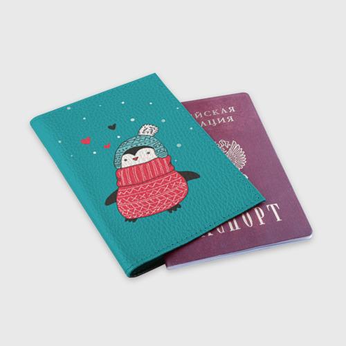 Обложка для паспорта матовая кожа  Фото 03, Пингвинчик