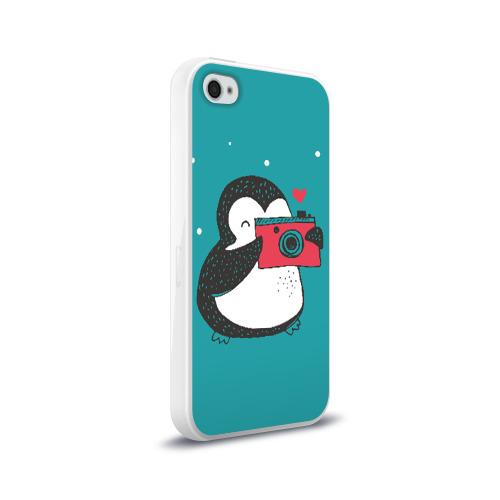 Чехол для Apple iPhone 4/4S силиконовый глянцевый  Фото 02, Пингвин с фотоаппаратом