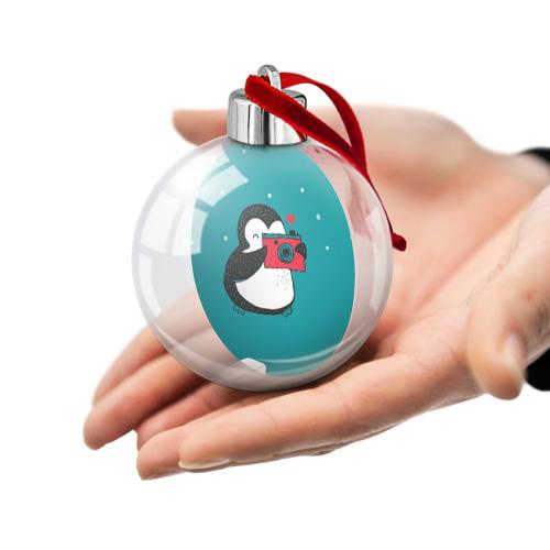 Ёлочный шар  Фото 02, Пингвин с фотоаппаратом