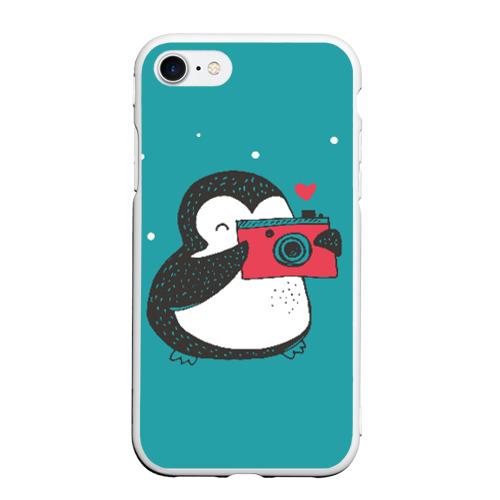 Чехол для iPhone 7/8 матовый Пингвин с фотоаппаратом Фото 01