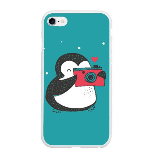 Чехол для iPhone 6/6S матовый Пингвин с фотоаппаратом Фото 01
