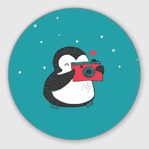 Коврик для мышки круглый Пингвин с фотоаппаратом Фото 01