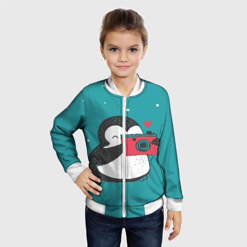 Детский бомбер 3D Пингвин с фотоаппаратом Фото 01