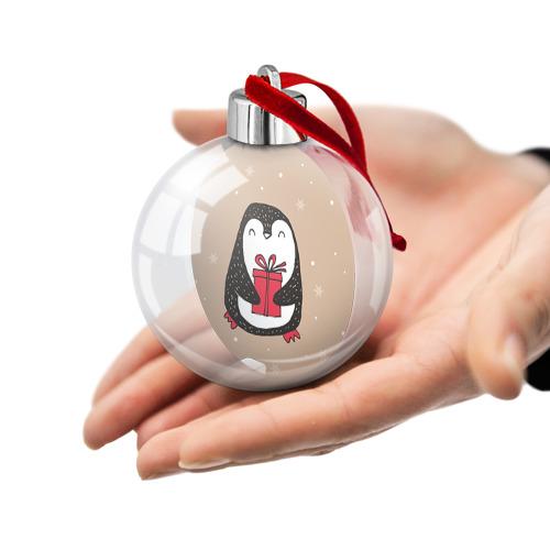 Ёлочный шар  Фото 02, Пингвин с подарком