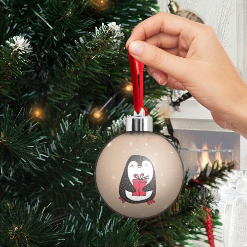 Ёлочный шар  Фото 03, Пингвин с подарком