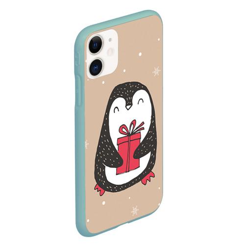 Чехол для iPhone 11 матовый Пингвин с подарком Фото 01