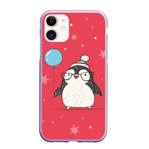 Чехол для iPhone 11 матовый Пингвин с шариком Фото 01