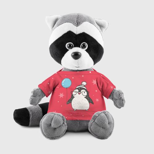 Енотик в футболке 3D Пингвин с шариком Фото 01