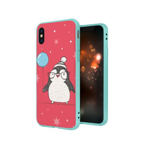 Чехол для iPhone X матовый Пингвин с шариком Фото 01