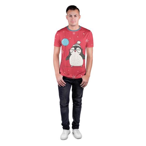Мужская футболка 3D спортивная Пингвин с шариком Фото 01
