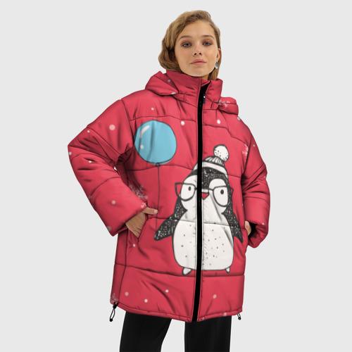 Женская зимняя куртка Oversize Пингвин с шариком Фото 01