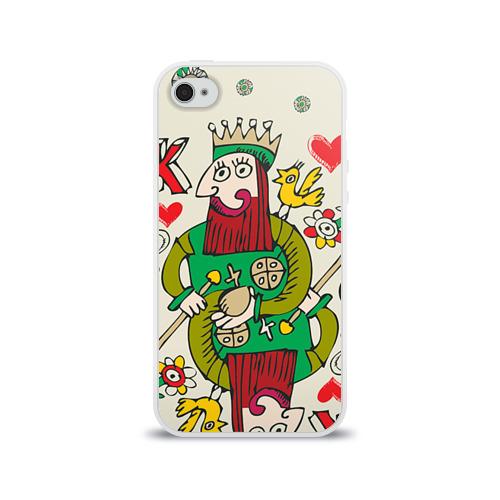 Чехол для Apple iPhone 4/4S силиконовый глянцевый  Фото 01, Червовый король