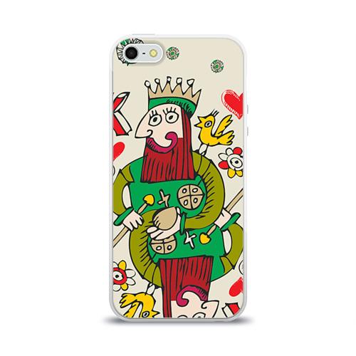 Чехол для Apple iPhone 5/5S силиконовый глянцевый  Фото 01, Червовый король