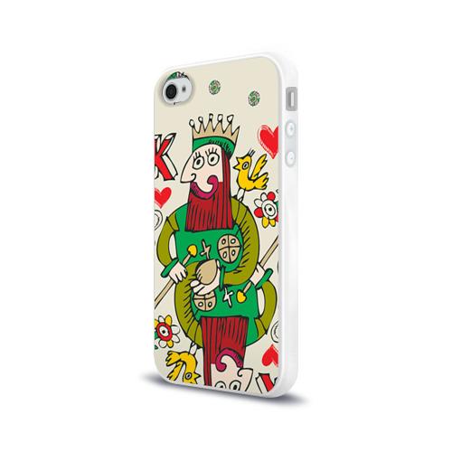 Чехол для Apple iPhone 4/4S силиконовый глянцевый  Фото 03, Червовый король