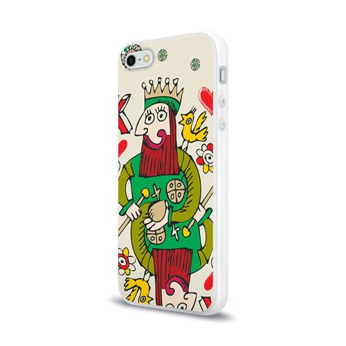 Чехол для Apple iPhone 5/5S силиконовый глянцевый  Фото 03, Червовый король