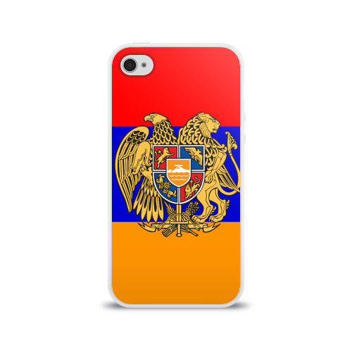 Чехол для Apple iPhone 4/4S силиконовый глянцевый  Фото 01, Герб и флаг Армении