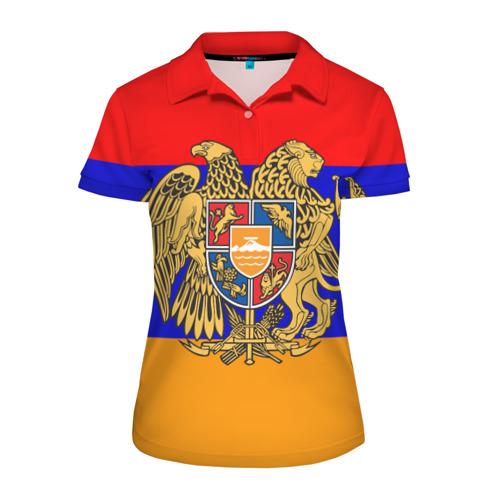 Женская рубашка поло 3D Герб и флаг Армении