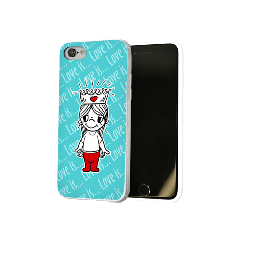 Чехол для Apple iPhone 8 силиконовый глянцевый Love is