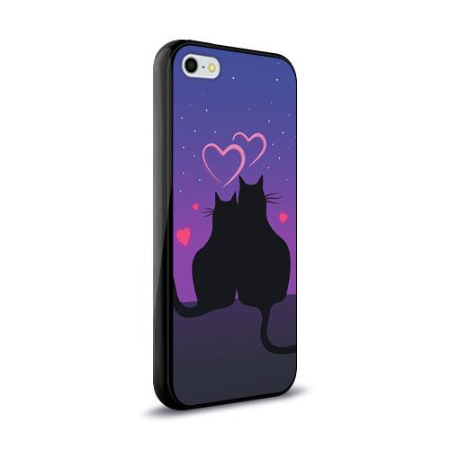 Чехол для Apple iPhone 5/5S силиконовый глянцевый Котик и киска Фото 01