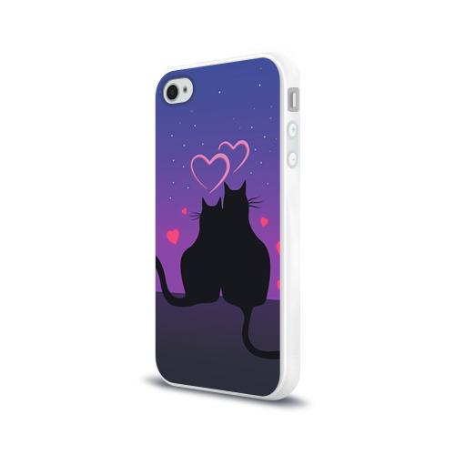 Чехол для Apple iPhone 4/4S силиконовый глянцевый Котик и киска Фото 01
