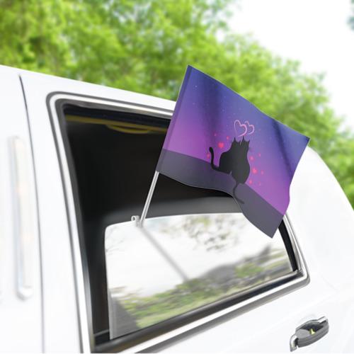 Флаг для автомобиля Котик и киска Фото 01