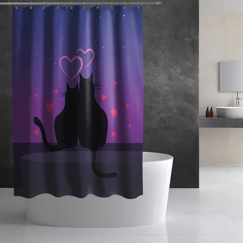 Штора 3D для ванной Котик и киска Фото 01