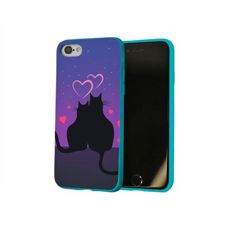 Чехол для Apple iPhone 8 силиконовый глянцевый Котик и киска Фото 01