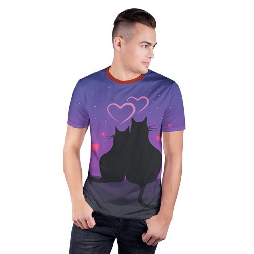 Мужская футболка 3D спортивная Котик и киска Фото 01