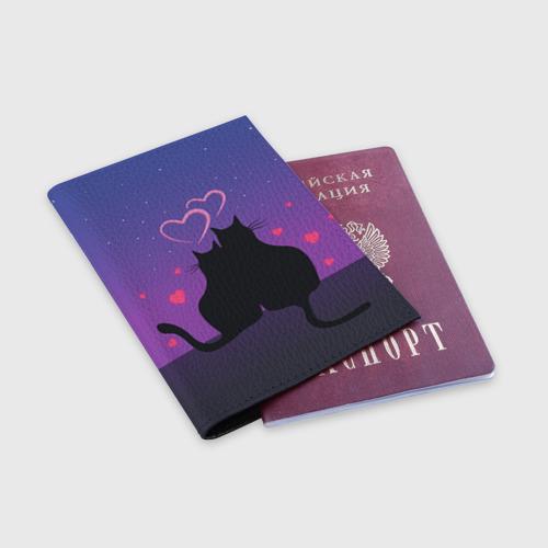 Обложка для паспорта матовая кожа Котик и киска Фото 01