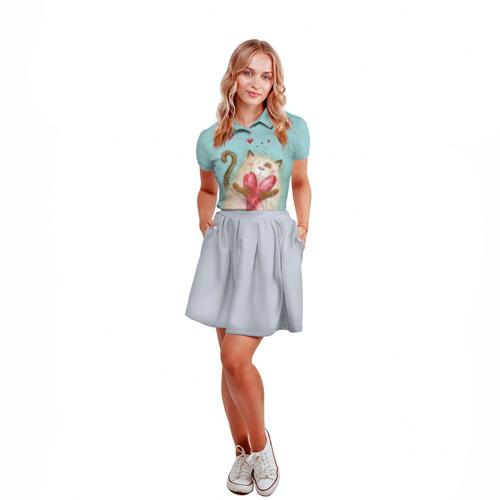 Женская рубашка поло 3D  Фото 04, Котик