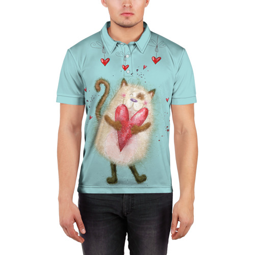 Мужская рубашка поло 3D  Фото 03, Котик