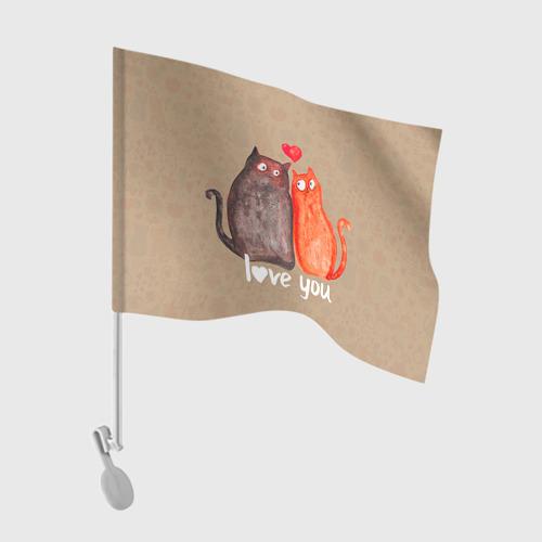 Флаг для автомобиля  Фото 01, Влюбленные котики